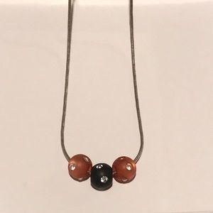 Swarovski Red & Black Beaded Silver Necklace NWOT